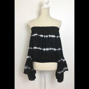 Elan Tie Dye Bell Sleeves Off Shoulder Blouse Top